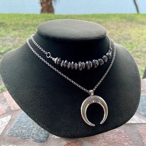 Double layer moon lunula & faceted hematite